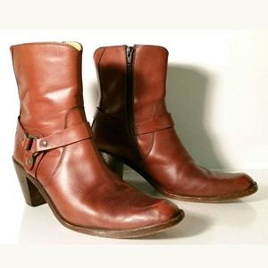 Frye Mid Calf Zippered Harness Boots Womens Size 9